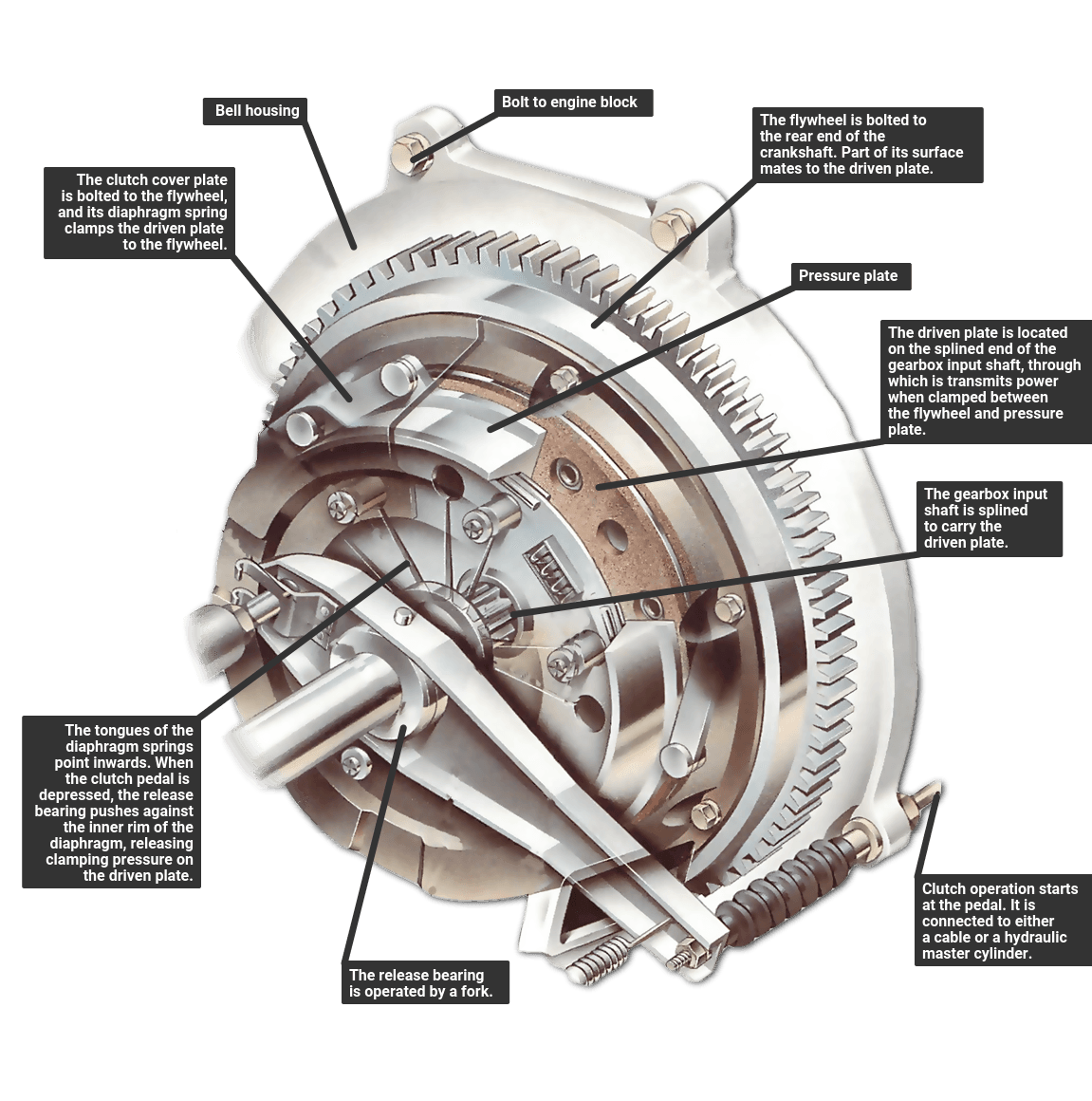 How A Car Clutch Works Standard Engine Diagram