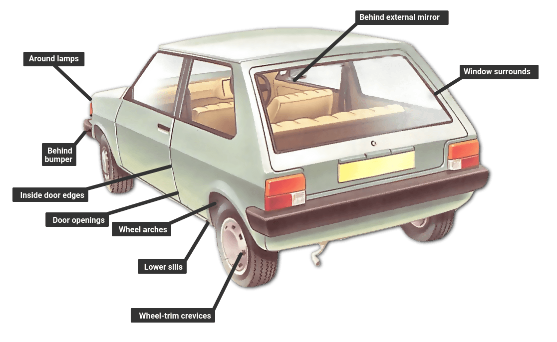 Where to check a car for rust