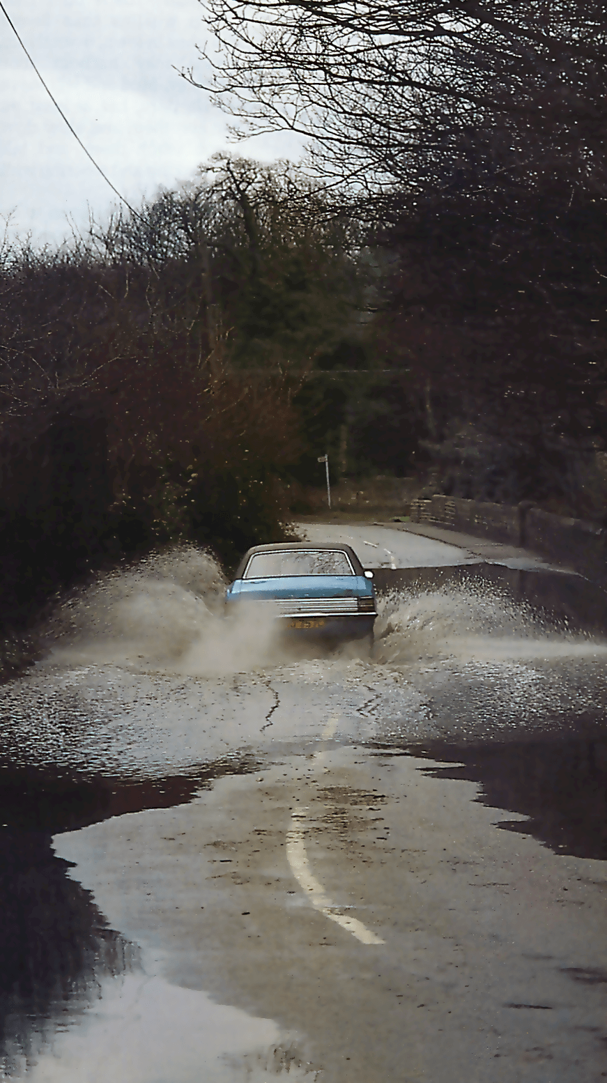 Driving through flooded roads