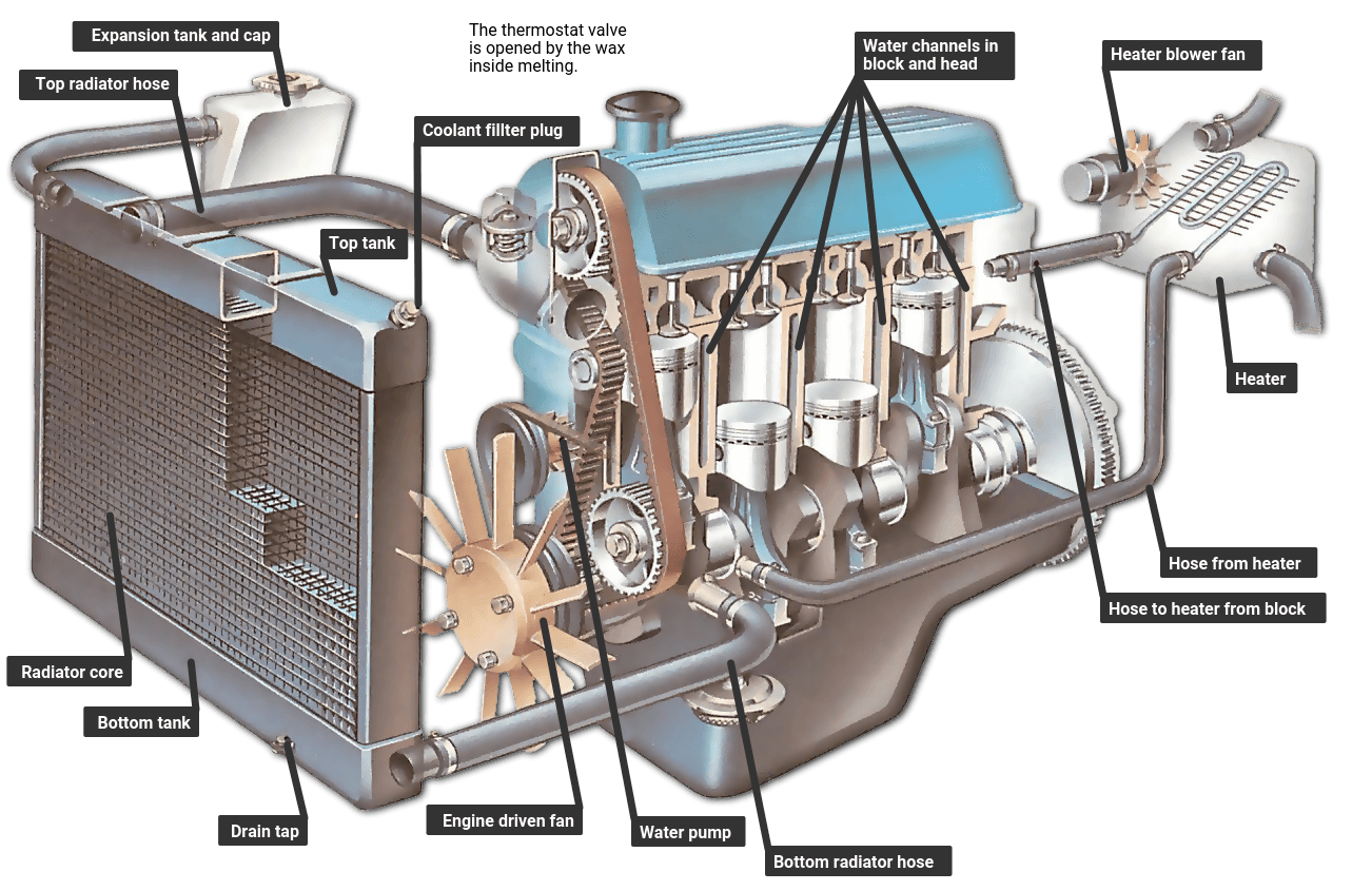 How an engine cooling system works | How a Car Works V Engines Diagram With Names on