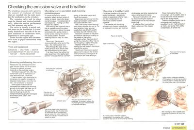 Checking the emission valve and breather