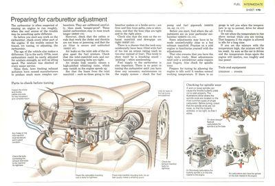 Preparing for carburettor adjustment