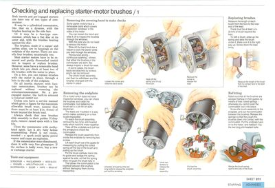 Checking and replacing starter-motor brushes